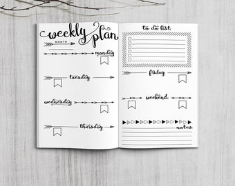 Printable Weekly Planner Inserts, Pocket Size Weekly Planner, Printable Field Note weekly planner inserts, PDF file