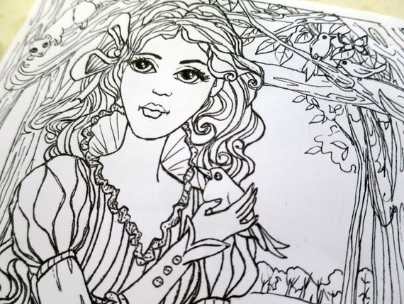 two fairy tale themed coloring pages. Black Bedroom Furniture Sets. Home Design Ideas