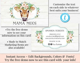 Cow Business Card, DIY Business Card, HeiferBusiness Card, Business Card, Editable Template, Instant Download Card, DIY Template