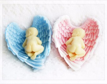20 Sleeping baby soap favors 20 Baby shower soap favors Newborn baby soaps Angel Wings Soap Party Favors Baptism Favors Its a boy Its a girl