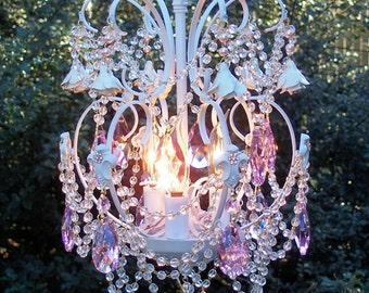 Romantic Roses and Crystals Jeweled Vintage Petite Chandelier