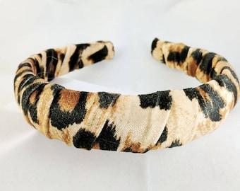 Leopard Velvet Headband - Padded Headband - Headbands for Women - Animal Print- Made in the USA - 6 Month Warranty
