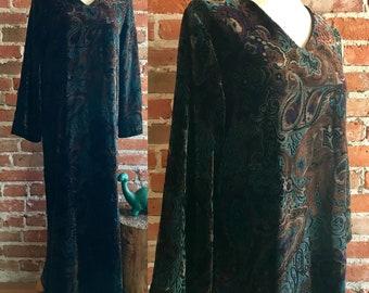 Vintage Paisley Velvet Bergdorf Goodman Maxi Dress, Silk Blend, XS