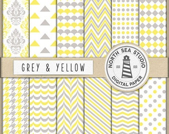 Grey And Yellow Digital Paper Pack   Scrapbook Paper   Printable Backgrounds   12 JPG, 300dpi Files   BUY5FOR8