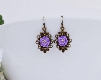 Purple Rose Flower Earrings, Dainty Dangle Earrings, Vintage Earrings, Bridesmaid Gifts, Gift For Her