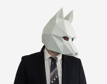 Wolf Mask, DIY printable Animal Head, Printable Mask for New Year, Instant Pdf download, DIY Halloween Paper Mask, 3D Pattern, Polygon Masks