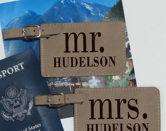 Mr. & Mrs. Luggage Tags - Set of 2 - Mr. Mrs. - Personalized Luggage Tags - Wedding Gift - Bridal Shower Gift - Mr. Mrs. Luggage Tags