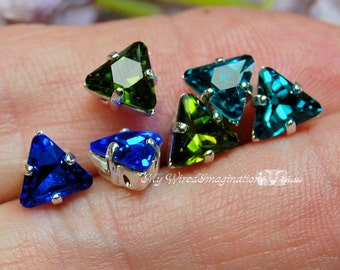 LAST ONE Vintage 6mm Swarovski Triangle Sew On Rhinestone 2pcs, Choose Sapphire, Olivine or Blue Zircon, Crystal Sew On Jewelry Craft Supply