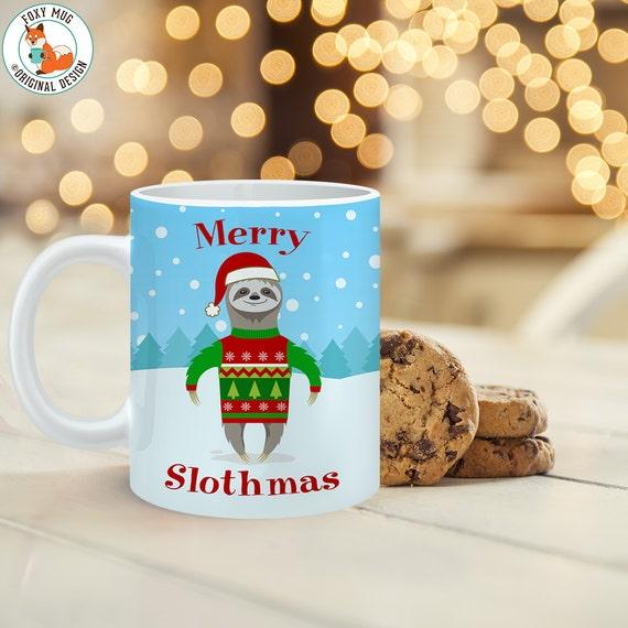 Coffee Mug Merry Slothmas Sloth Christmas Cup - Cute Sloth Christmas Mug