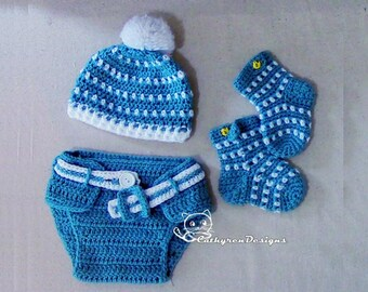 Baby Hat, Diaper Cover, Socks/Booties Set, Photo prop - INSTANT DOWNLOAD Crochet Pattern