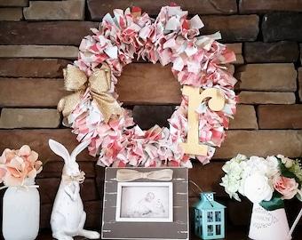 Coral, Aqua and Gold Rag Wreath.  Mantle Wreath.  Door Wreath.  Mother's Day Wreath.  Baby Shower Decor. Nursery Decor.  Nursery Wreath