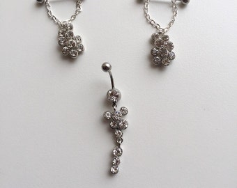Nipple jewellery, bar bells and belly button pierced set, crystals set, body piercing
