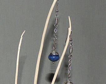 Long Navy Blue jade and Silver earrings