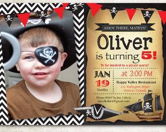 Pirate Birthday Invitation. Chevron Chalkboard Party. Boy Birthday with photo. First Birthday, Any Age. Red, Black. Printable digital DIY