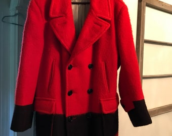 Vintage Hudson's Bay Trapper Point Red/Black Blanket Belted Coat