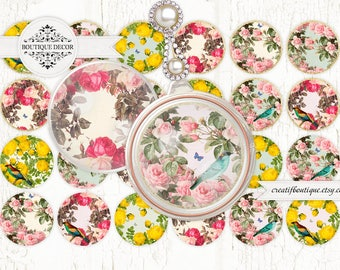 Botanica Digital Collage Sheet. Set of 24 30 mm circles. Vintage style. Instant download.