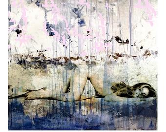 BLUEPAINTGIRLBIRDS - Mixed Media Fine Art Ltd Giclee Print