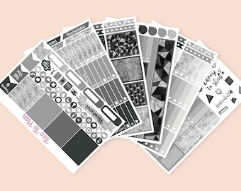 Unbreakable Full Weekly Kit! Great for No White Space Planning! Black and White Planner Stickers Great for Neutral Erin Condren Life Planner
