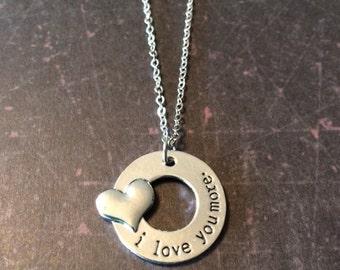 I Love You More - I Love You More Necklace - I Love You More Jewelry - Love You More - Love Necklace - Heart Necklace - Heart Jewelry - Gift