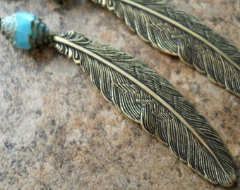 Southwestern Feather Earrings in Brass Exclusive Design only by Enchanted Lockets