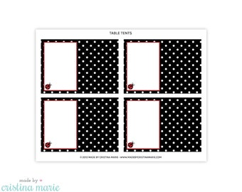 INSTANT DOWNLOAD, ladybug baby shower, table tents, printable table tents