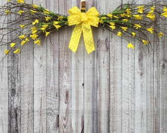 Spring Swag, Floral Swags, Flower Swag, Swag Wreath, Wall Swags, Door Swag, Over the Door Decor, Above Door Decor, Forsythia Wreath