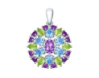 925 Multi-Stone Silver Pendant with Amethyst, Cubic Zirconia and Chrysolite Russian Jewelry For Women