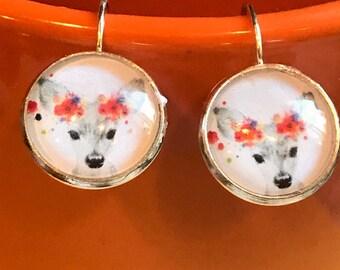 Deer cabochon earrings - 16mm