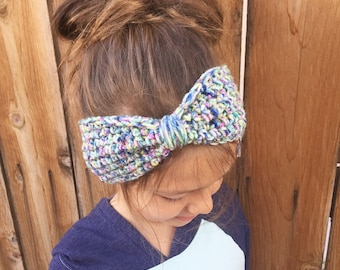 Bow Earwarmer/Headband/Set of 3 Big Bow Earwarmers Available in Baby to Adult Size- MADE TO ORDER