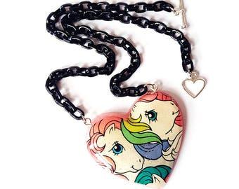 My Little Pony necklace ~ retro mlp, mlp heart, resin heart pendant, vintage my little pony
