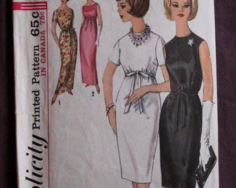 Misses 60s Cocktail Evening Sheath Maxi Dress Gown Empire Mad Men Drawstring Vintage 1960s Simplicity 5224 Sewing Pattern Size 14 Bust 34
