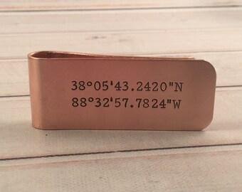 GPS COORDINATES money clip - Custom Money Clip - Hand Stamped Money Clip - Location Money Clip - GPS gift