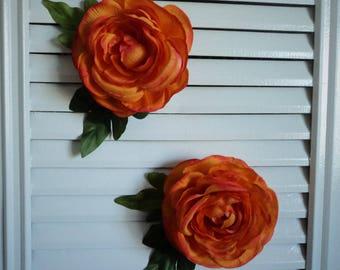 Orange Buttercup Ranunculus Flower Hair Clip Fascinator Headpiece