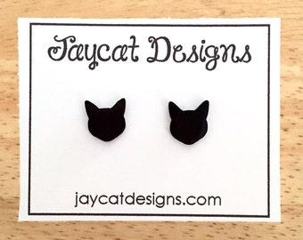 Cat Earrings, Black Cat Silhouette Earrings, Cat Stud Earrings