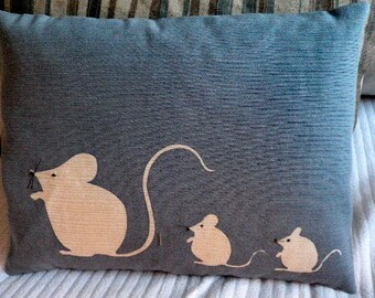 hand printed muted blue mouse family cushion