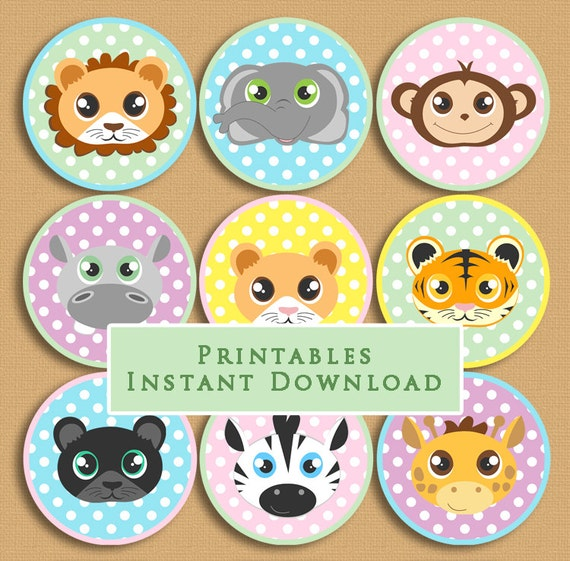 Baby Jungle Animals Printable Cupcake Toppers Baby Shower Or