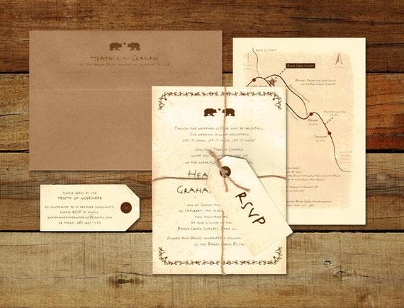 Canadian Wedding Invitations: Rustic Wedding Invitation Whimsical Wedding Invitation Cream