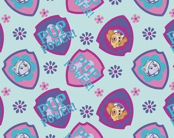 Paw Patrol Fabric Pup Power Shield Toss Light Blue From David Textiles 100% Cotton