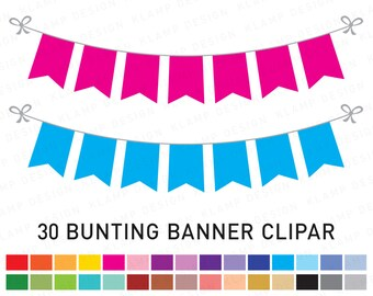 """Bunting Banners Clipart: """"BANNER FLAG Clipart"""" Party Bunting, Banner Clipart, Pennant Flags Clipart, Bunting Clipart, Bunting"""