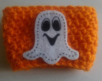 Orange Crocheted Cup Cozy with Felt Ghost Applique