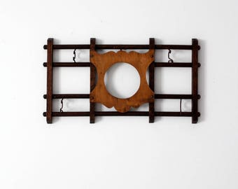 vintage wall rack, wooden rack with frame center
