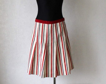 MOSCHINO Linen Striped Skirt  Pleated Mini Skirt Ivory White Red Blue Size Medium