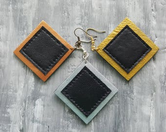 Leather Geometric Earrings. Square Earrings. Large Dangle Earrings. Bronze Silver Gold Leather Earrings. Leather Jewelry. Geometric Jewelry.