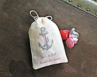 Wedding favor bags, set of 50 personalized cloth bags, Nautical anchor with initials and wedding date, Bridal shower, nautical favor bag