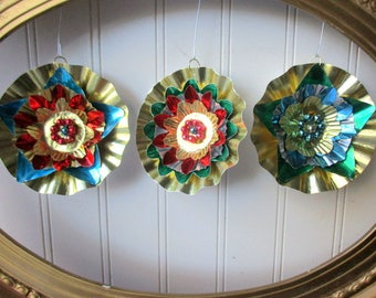 3 foil Christmas ornaments upcycled vintage foil reflector, mercury bead gold paper blue, red, green folk art star rosettes  bright retro N3