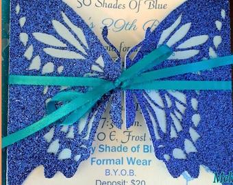Butterfly Invitation, Bridal Shower Invitation, Wedding Invitation, Quincenera, Sweet 16, Christening, Birthday, Butterflies, Baby Shower