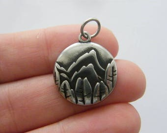 1 Mountain trees scenery charm dark silver tone stainless steel WT200