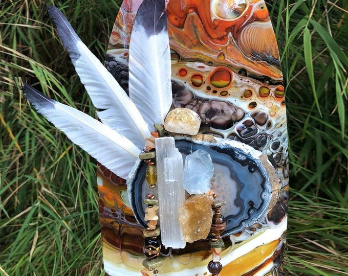 Energy Shield, Sacred Space, fused glass, 3rd anniversary gift, hand made, gift for friend