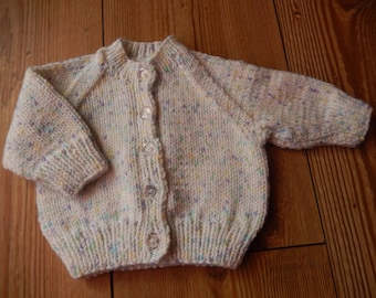 hand knitted baby cardigan, hand knit baby sweater sparkling white mix newborn