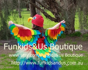 Bird Wings Costume Kids  - Parrot Wings, Tail  and Beaks - Bird Costume Set, Bird Wings and Hat beak